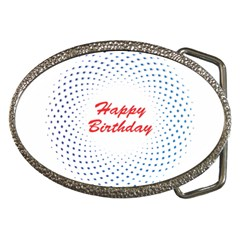 Halftone Circle With Squares Belt Buckle (oval)