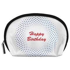 Halftone Circle With Squares Accessory Pouch (large) by rizovdesign