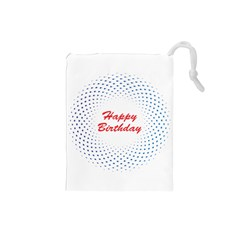 Halftone Circle With Squares Drawstring Pouch (small) by rizovdesign
