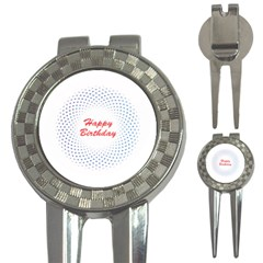 Halftone Circle With Squares Golf Pitchfork & Ball Marker by rizovdesign