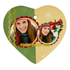 Merry Christmas By Merry Christmas   Heart Ornament (two Sides)   Tganihaqicbq   Www Artscow Com Front