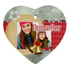 Merry Christmas By Merry Christmas   Heart Ornament (two Sides)   Agaylq0qil9b   Www Artscow Com Front