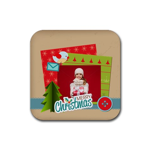Xmas By Xmas   Rubber Coaster (square)   G7l4nt0dr7fj   Www Artscow Com Front