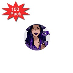 Purple Witch 1  Mini Button (100 Pack) by FunWithFibro