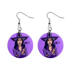 Purple Witch Mini Button Earrings by FunWithFibro