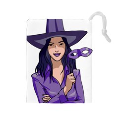Purple Witch Drawstring Pouch (large) by FunWithFibro