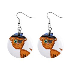 Pirate Cat  Mini Button Earrings
