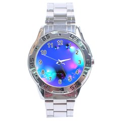 Love In Action, Pink, Purple, Blue Heartbeat 10000x7500 Stainless Steel Watch by DianeClancy