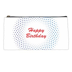 Halftone Circle With Squares Pencil Case by rizovdesign