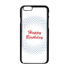 Halftone Circle With Squares Apple iPhone 6 Black Enamel Case by rizovdesign