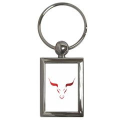 Stylized Symbol Red Bull Icon Design Key Chain (rectangle) by rizovdesign