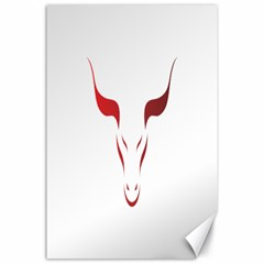 Stylized Symbol Red Bull Icon Design Canvas 24  X 36  (unframed) by rizovdesign