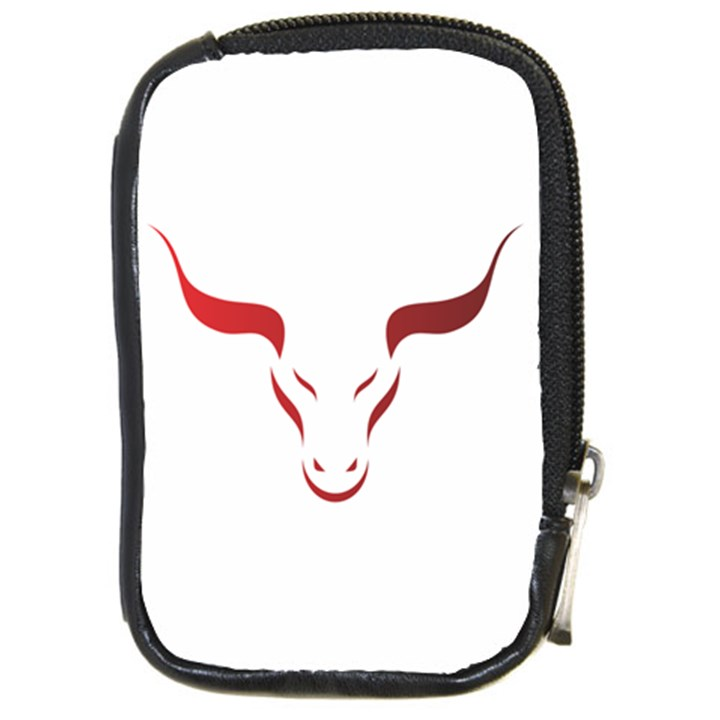 Stylized Symbol Red Bull Icon Design Compact Camera Leather Case