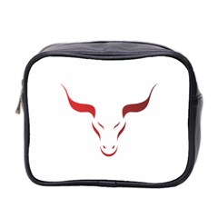 Stylized Symbol Red Bull Icon Design Mini Travel Toiletry Bag (two Sides) by rizovdesign