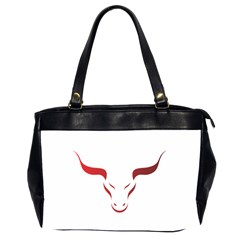 Stylized Symbol Red Bull Icon Design Oversize Office Handbag (two Sides) by rizovdesign