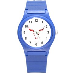 Stylized Symbol Red Bull Icon Design Plastic Sport Watch (small) by rizovdesign
