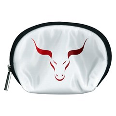 Stylized Symbol Red Bull Icon Design Accessory Pouch (medium) by rizovdesign