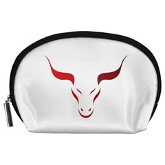 Stylized Symbol Red Bull Icon Design Accessory Pouch (large) by rizovdesign