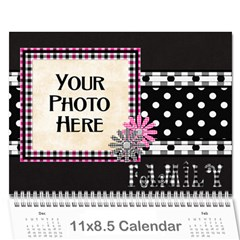 2015 Black White And Pink Calendar By Lisa Minor   Wall Calendar 11  X 8 5  (12 Months)   M3f9n86zzyqc   Www Artscow Com Cover