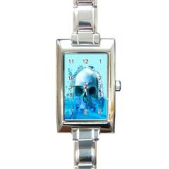 Skull In Water Rectangular Italian Charm Watch by icarusismartdesigns