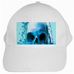 Skull In Water White Baseball Cap