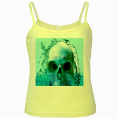 Skull In Water Yellow Spaghetti Tank