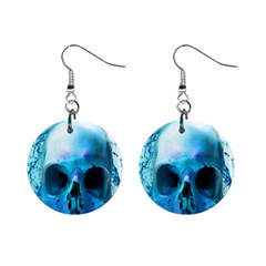 Skull In Water Mini Button Earrings by icarusismartdesigns