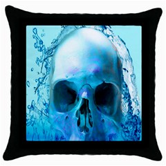 Skull In Water Black Throw Pillow Case by icarusismartdesigns