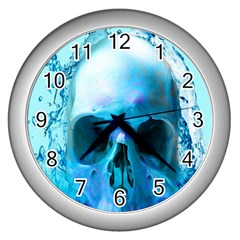 Skull In Water Wall Clock (Silver) by icarusismartdesigns
