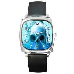 Skull In Water Square Leather Watch by icarusismartdesigns