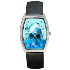 Skull In Water Tonneau Leather Watch by icarusismartdesigns