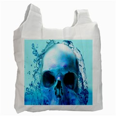 Skull In Water White Reusable Bag (one Side)