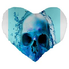 Skull In Water 19  Premium Heart Shape Cushion by icarusismartdesigns