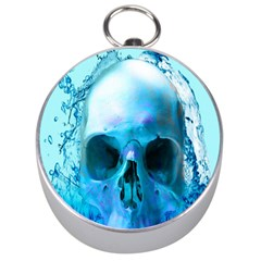 Skull In Water Silver Compass by icarusismartdesigns