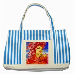 Tears Of Blood Blue Striped Tote Bag by icarusismartdesigns