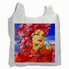 Tears Of Blood White Reusable Bag (two Sides) by icarusismartdesigns