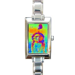 Sitting Bull Rectangular Italian Charm Watch by icarusismartdesigns