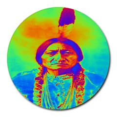 Sitting Bull 8  Mouse Pad (round) by icarusismartdesigns