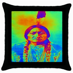 Sitting Bull Black Throw Pillow Case by icarusismartdesigns