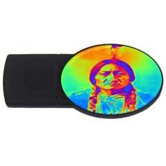 Sitting Bull 2gb Usb Flash Drive (oval) by icarusismartdesigns