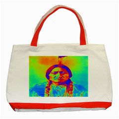 Sitting Bull Classic Tote Bag (red) by icarusismartdesigns