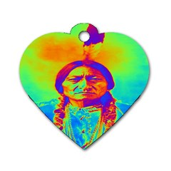 Sitting Bull Dog Tag Heart (two Sided) by icarusismartdesigns