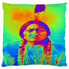 Sitting Bull Large Cushion Case (single Sided)  by icarusismartdesigns