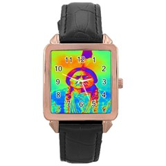 Sitting Bull Rose Gold Leather Watch  by icarusismartdesigns