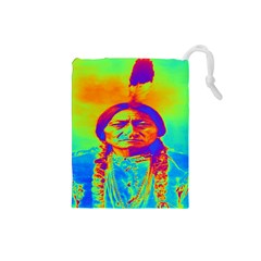 Sitting Bull Drawstring Pouch (small) by icarusismartdesigns
