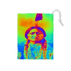 Sitting Bull Drawstring Pouch (medium) by icarusismartdesigns