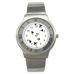 Waterproof Temporary Tattoo -----Three birds Stainless Steel Watch (Slim) by zaasim