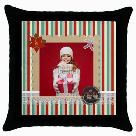 Xmas By Xmas   Throw Pillow Case (black)   Dnkkzttesmm9   Www Artscow Com Front
