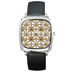 Chain Pattern Collage Square Leather Watch by dflcprints