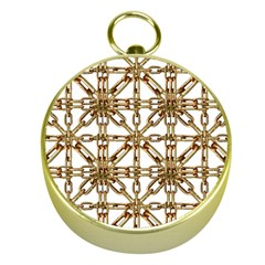 Chain Pattern Collage Gold Compass by dflcprints